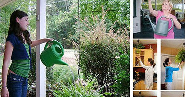 2 x Retractable Pulley Hanging Basket Garden Plant Pots Pull Down Hanger Black