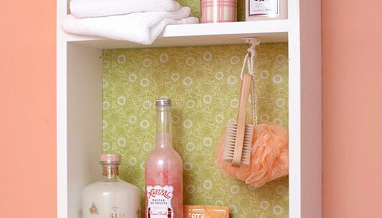 DIY -old dresser drawer turned into bathroom shelving with towel bar. Cute