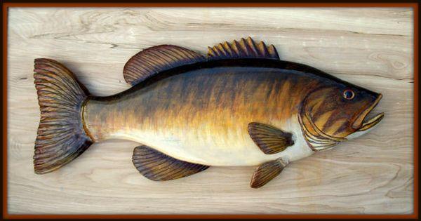 Smallmouth Bass Fish Wood Carving Folk Art Fish Cabin By