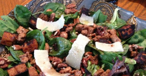 Warm Spinach Salad With Smoky Pecans And Sweet Potato Recipe ...