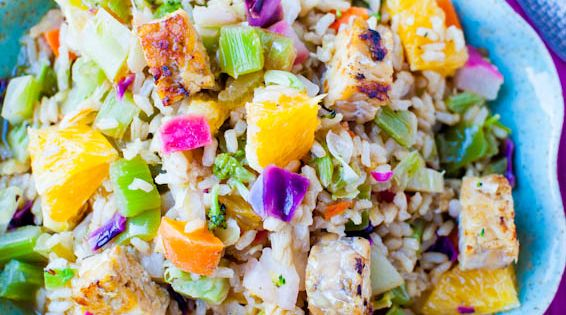 Orange Ginger Tempeh And Brown Rice Salad With Orange Balsamic Vinaigrette Home