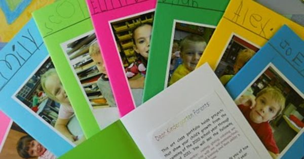 These are kindergarten art portfolios. Great idea to simplify down to a
