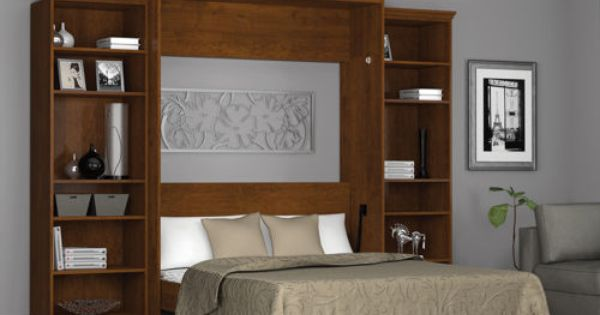 Home Gym Wall Storage Bestar Queen Wall Bed With Two 25 Storage Units In Tuscany Bedroom