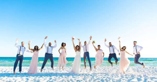 Jumping Bridal Party Beach Wedding Picture Must Have