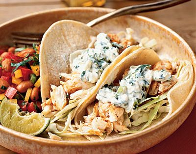 Favorite fish taco recipe - Fish Tacos with Lime-Cilantro Crema Recipe, Cooking