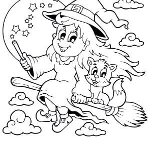 Ausmalbild Halloween Fliegende Hexe Mit Katze Halloween Ausmalbilder Malvorlage Einhorn Ausmalbilder