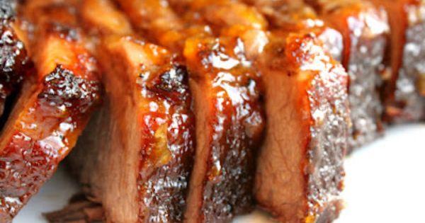 Braised Brisket with Bourbon-Peach Glaze | Recipe | Braised Brisket ...