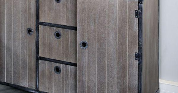 Buffet en bois et m tal 2 portes 3 tiroirs marcel jardin d for Prix porte jardin