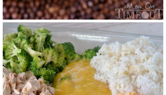 This Cheesy Chicken Broccoli and Rice Casserole is sure to become a new family favorite! | MomOnTimeout.com | casserole chicken dinner recipe ...except with brown rice