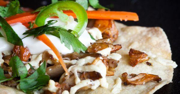 Wild Mushroom Tostadas w/ Lime Creme Fraiche vegan tacos?