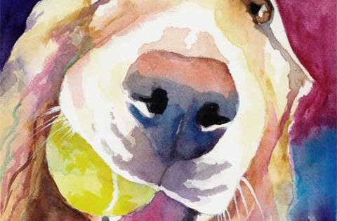 Golden Retriever Art Print - from original watercolor painting - 8x10 signed