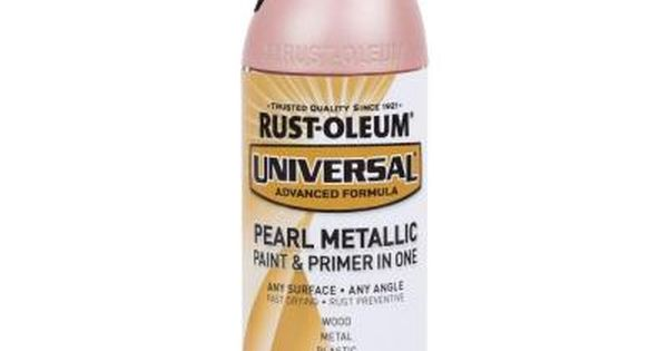Rust Oleum Universal 11 Oz Pearl Metallic Champagne Pink Spray Paint And Primer In 1 Pink