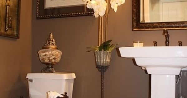 Powder Room Painted In A Tea Chest Brown By Sherwin