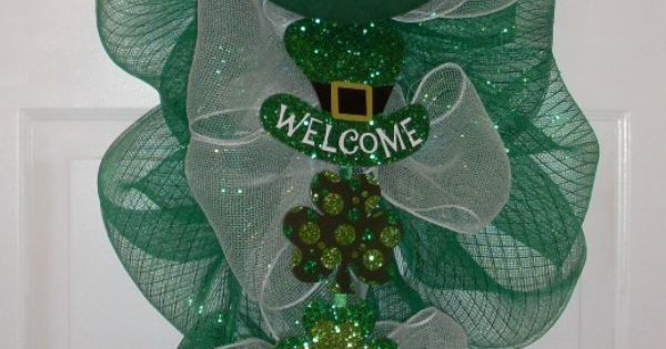St Patrick S Day Door Swag Made With Left Over Mesh From