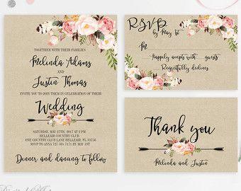 Rustic Wedding Invitation Printable Wedding Invitations