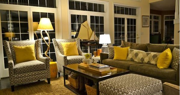 Grey And Yellow And Brown Living Room Design Awesome