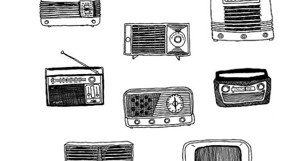 pen and ink drawing vintage radios by jodiburton on etsy   20 00