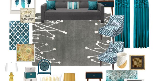 Teal Grey Gold Living Room By Ealfaro814 On Polyvore