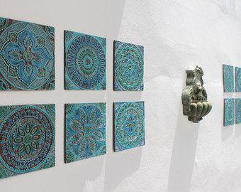 Mandala Wall Hanging Made From Ceramic Exterior Wall Art Mandala Art Mandala Wall Hanging Han Ceramic Wall Decor Outdoor Wall Art Decorative Wall Tiles