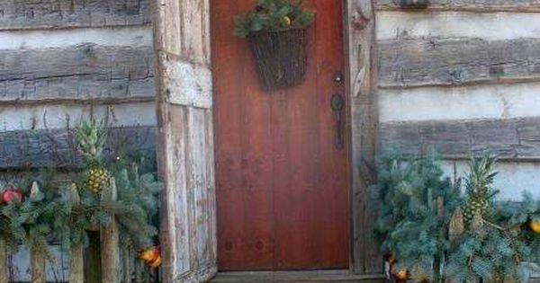 Red door on log house!