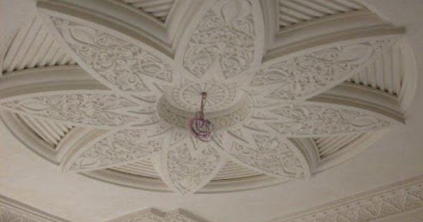 Plafond platre sculpte marocain nta pinterest for Rosace en platre marocain
