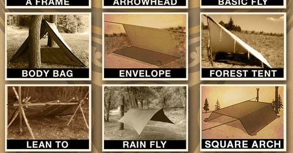 Tarp Shelters - Examples showing how to make multiple types of tarp