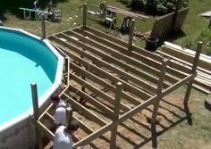Plans Building A Deck Round Above Ground Pool Pool Deck Plans