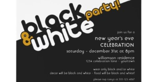 New Years Eve Black and White Party Invitations by reflections06 | New Years Eve Parties ...