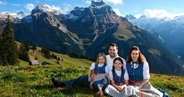 Switzerland Swiss Traditional Dress Blue Red Photo By