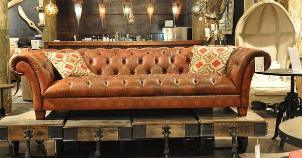 Four Hands Sofa Leather Tufts Curved Arms Sofas