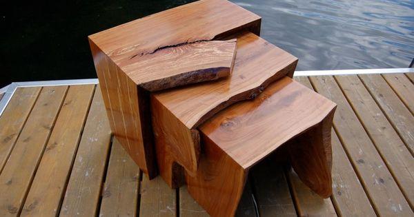 Holtz Furniture Spalted Apple Wood Nesting Tables Slab