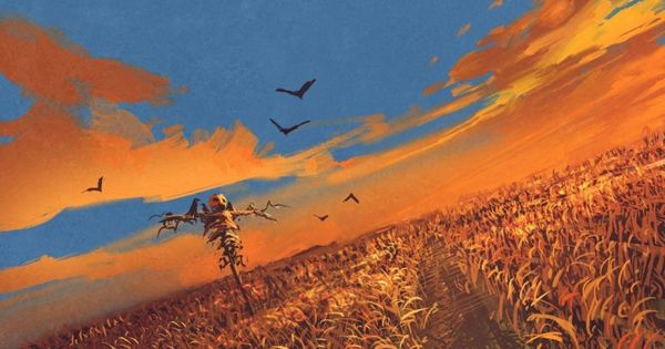 Scarecrow In The Field Chinese New Year Background Sunset Sky Painting