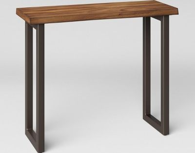 Thorald Wood Top Console Table With Metal Legs Brown Project 62 Console Table Metal Console Table Wood Entry Table