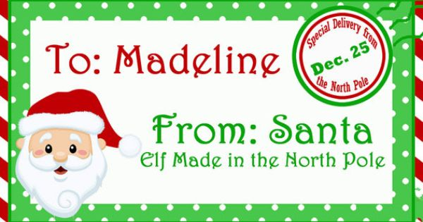 Personalized Christmas Morning Gift Tags Printable North Etsy Santa Gift Tags Santa Gift Tags Printable Christmas Gift Tags Personalized