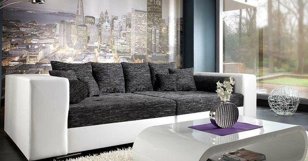 delife bigsofa marlen 300x140 cm weiss schwarz couch, big sofas, Hause deko