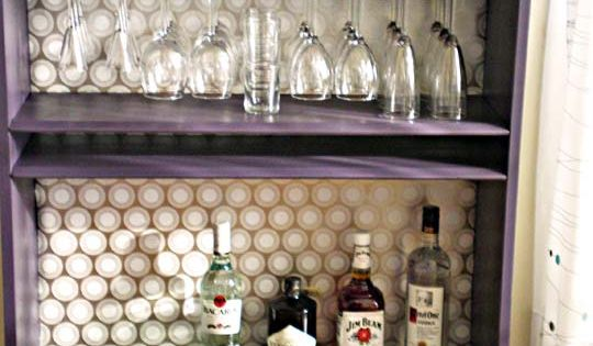 DIY: Bookcase into a Wine Bar.