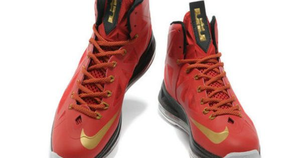 Nike LeBron 10 Red Gold Black,it sports a red Hyperfuse upper with gold hue