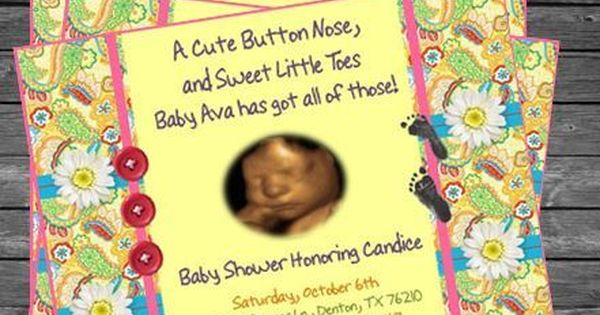 Cute As A Button Baby Shower Invitation 3 From Invitations More By Terra S Baby Shower Invitations Baby Shower Invitations