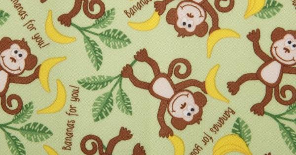 Playful friends monkeys printed pul fabric from babyville for Baby monkey fabric prints