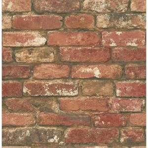 Nuwallpaper West End Brick Peel And Stick Vinyl Strippable Wallpaper Covers 30 8 Sq Ft Nu2088 The Home Depot Red Brick Wallpaper Brick Wallpaper Faux Brick