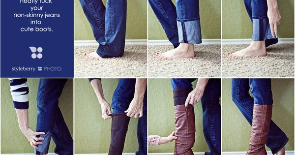 "how to tuck non-skinny jeans into boots without that weird ""fabric muffin"