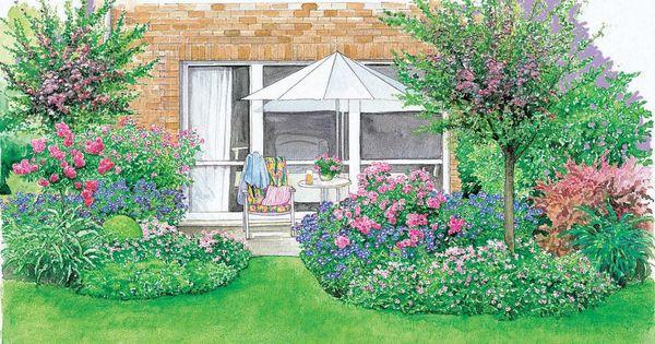 ein sch ner rahmen f r die terrasse rasen stauden und str ucher. Black Bedroom Furniture Sets. Home Design Ideas
