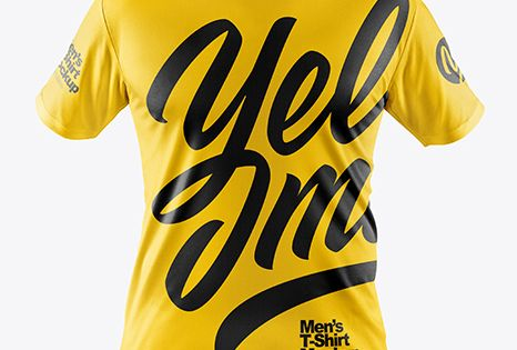 Men S T Shirt With Mini Eyelet Fabric Mockup In Apparel Mockups On Yellow Images Object Mockups Clothing Mockup Shirt Mockup Design Mockup Free