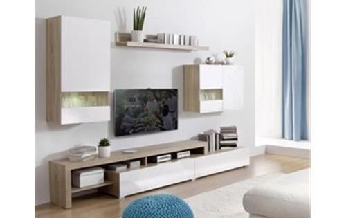 Ensemble mural boran blanc achat vente meuble tv for Meuble mural wall