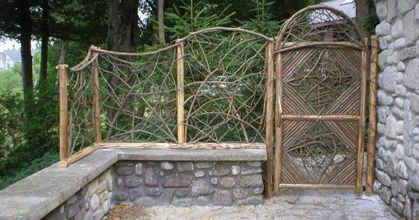 Rustic Stick Fence And Gate Fence Ideas Pinterest