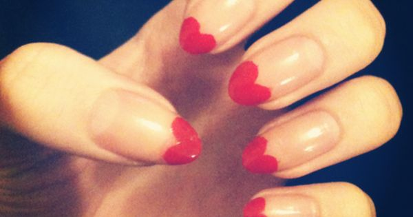 pointy heart nails | Valentines day nail design