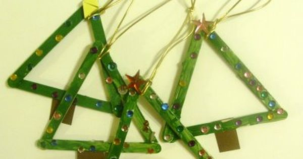 popsicle stick christmas tree craft idea. No instructions but easy enough to