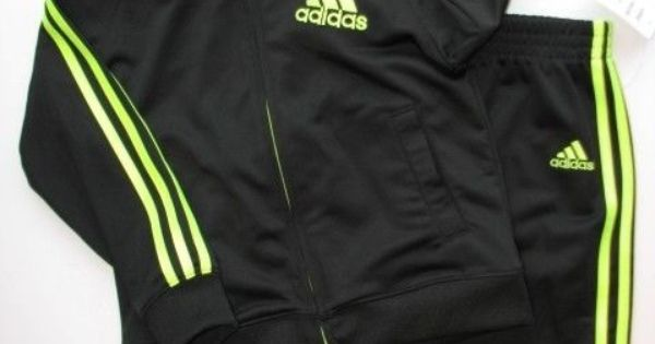 New Nwt Adidas 2pc Track Suit Black Amp Neon Green Jacket