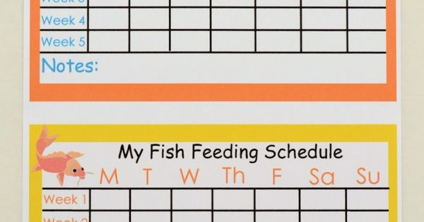 Free fish feeding schedule printable for kids for Fish feeding chart