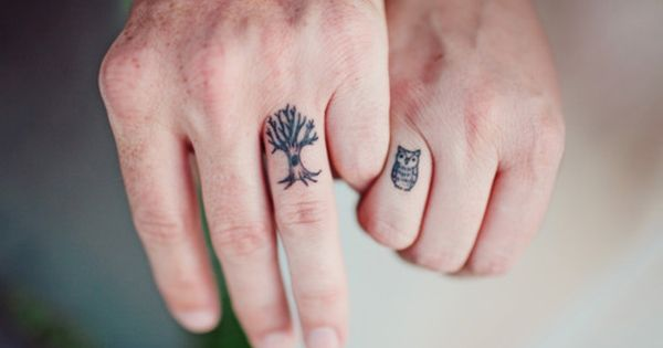 simple cute matching couple tattoos - cute matching couple finger tattoos-